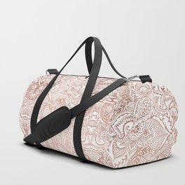 Chic hand drawn rose gold floral mandala pattern Duffle Bag
