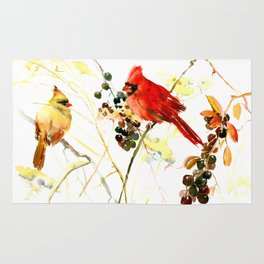 Two Red Cardinals Rug
