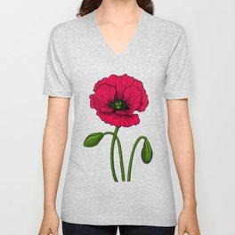 Red poppy drawing Unisex V-Neck