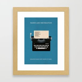 Parks And Recreation Minimalist Poster - Typewriter Framed Art Print