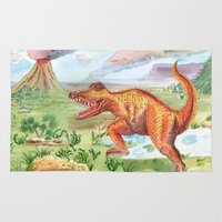 t rex Area & Throw Rugs featuring T-Rex by Catherine Holcombe