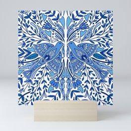 Folk Art Bird | Blue Bird | Scandinavian Folk Art | Nature Mini Art Print