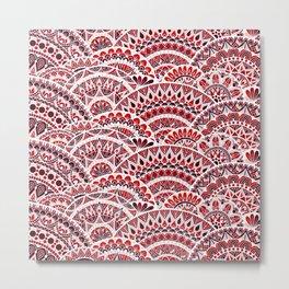 Red Wave Mandala Metal Print