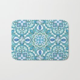 Colored Crayon Floral Pattern in Teal & White Bath Mat