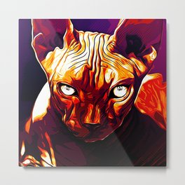 sphynx cat from hell va Metal Print