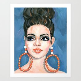 Girl with orange earrings  Art Print