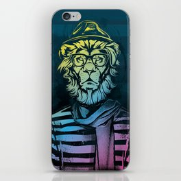 Hipster Lion Black and White iPhone Skin