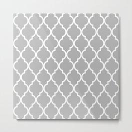 Classic Quatrefoil Lattice Pattern 221 Gray Metal Print
