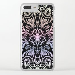 Coloring on the dark bacground hand drawn mandala Clear iPhone Case