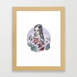 Girl with fox Framed Art Print