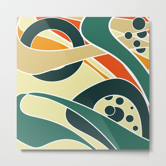 Abstract curves pattern in retro colors print Metal Print