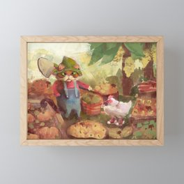 the farmer cat and the chicken Framed Mini Art Print