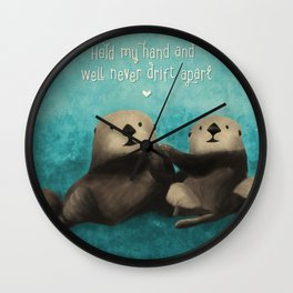 Sea Otters in Love Wall Clock