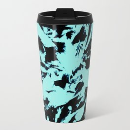 Turquoise Black Abstract Military Camouflage Travel Mug
