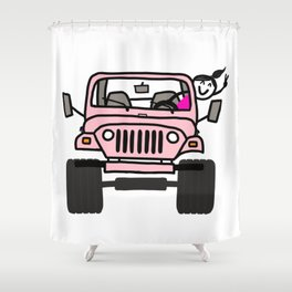 Jeep Wave Pink - Girl Shower Curtain