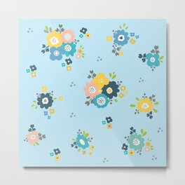Romantic flowers in light blue background Metal Print