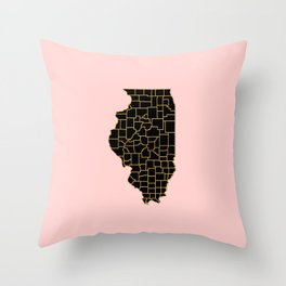 Illinois map Throw Pillow