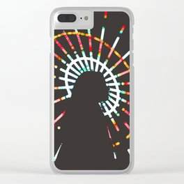 Silhouette Of A Woman By A Ferris Wheel Clear iPhone Case