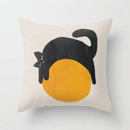 Cat with ball Throw Pillow