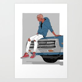 Little Finch and the Car Art Print