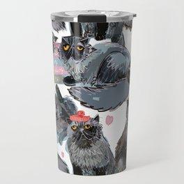 Freddy- Cat pattern white pink and grey Travel Mug