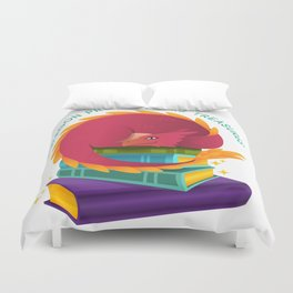 A Dragon Protects His Treasures (books) Duvet Cover