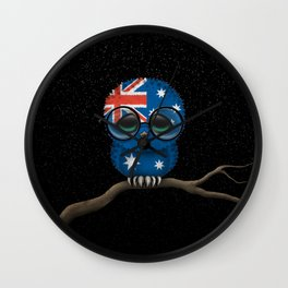 Baby Owl with Glasses and Australian Flag Wall Clock
