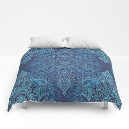 Aqua, Cobalt Blue & Purple Protea Doodle Pattern Comforters