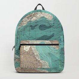 Vintage Green Transatlantic Mapping Backpack