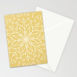 Single Snowflake - Yellow Stationery Cards
