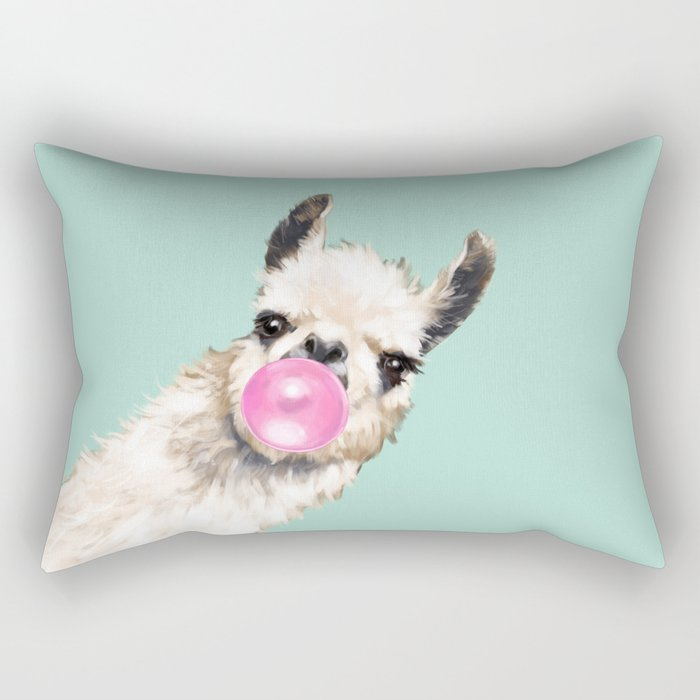 Bubble Gum Sneaky Llama in Green Rectangular Pillow