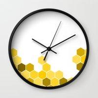 honeycomb Wall Clocks featuring Honeycomb by KelC