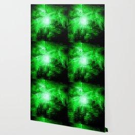 Nebula Pixels Emerald Green Wallpaper