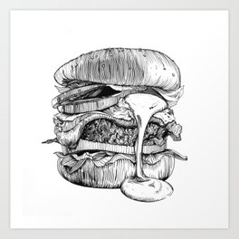 Mac'n ink Burger Art Print