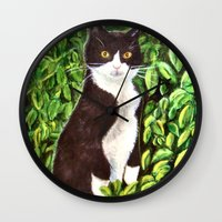 kitty Wall Clocks featuring Kitty by gretzky