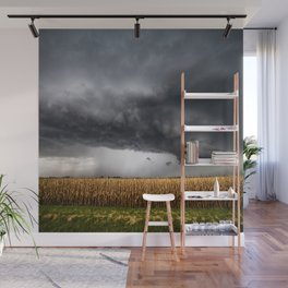 Corn Field - Storm Over Withered Crop in Southern Kansas Wall Mural