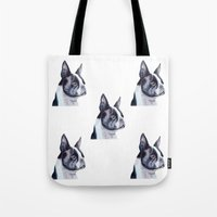 boston terrier Tote Bags featuring Boston terrier by Doggyshop