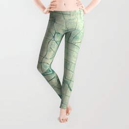 Melbourne Map Blue Vintage Leggings