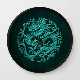 Traditional Teal Blue Chinese Dragon Circle Wall Clock