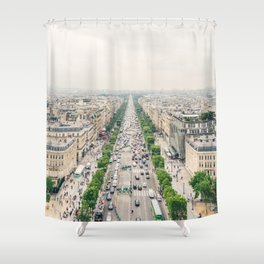 Aerial view of the Champs-Élysées in Paris, France Shower Curtain