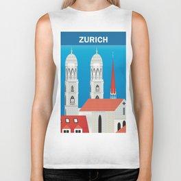 Zurich, Switzerland - Skyline Illustration by Loose Petals Biker Tank