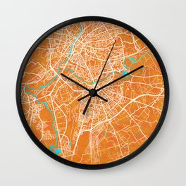 Le Mans, France, Gold, Blue, City, Map Wall Clock