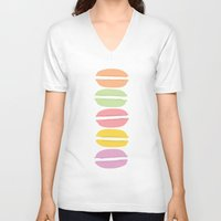 macaroons V-neck T-shirts featuring Lovely Macaroons by JulepDesignCo