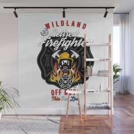 Retired Wildland Firefighter Off Duty Thin Red Line Wall Mural