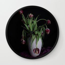 Tulips in vase Wall Clock