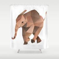 low poly Shower Curtains featuring Low Poly Elephant by The animals moved to - society6.com/dian