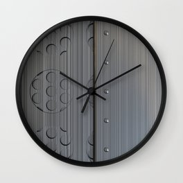 Brushed metal plate with rivets and circular grille Wall Clock