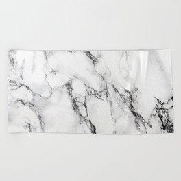 White Marble Texture Beach Towel