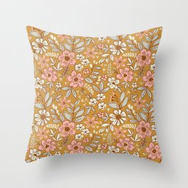 Vintage floral background. Flowers pattern with small flowers on a gold background.  Throw Pillow