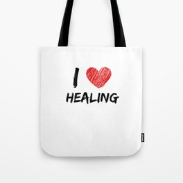 I Love Healing Tote Bag